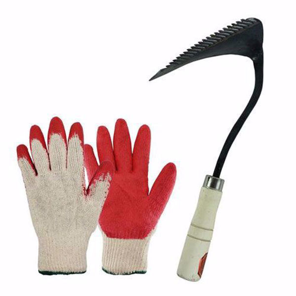 [The Elixir] Hand Forged Korean Ho-mi Gardening Tool with 10 Pairs of Red Latex Dipped Nitrile Coated Work Gardening Gloves