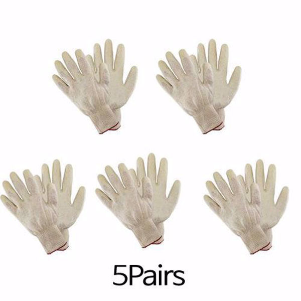 [The Elixir] White Latex Dipped Nitrile Coated Work Gloves 5Pairs for General Purpose, Safety Working Gloves